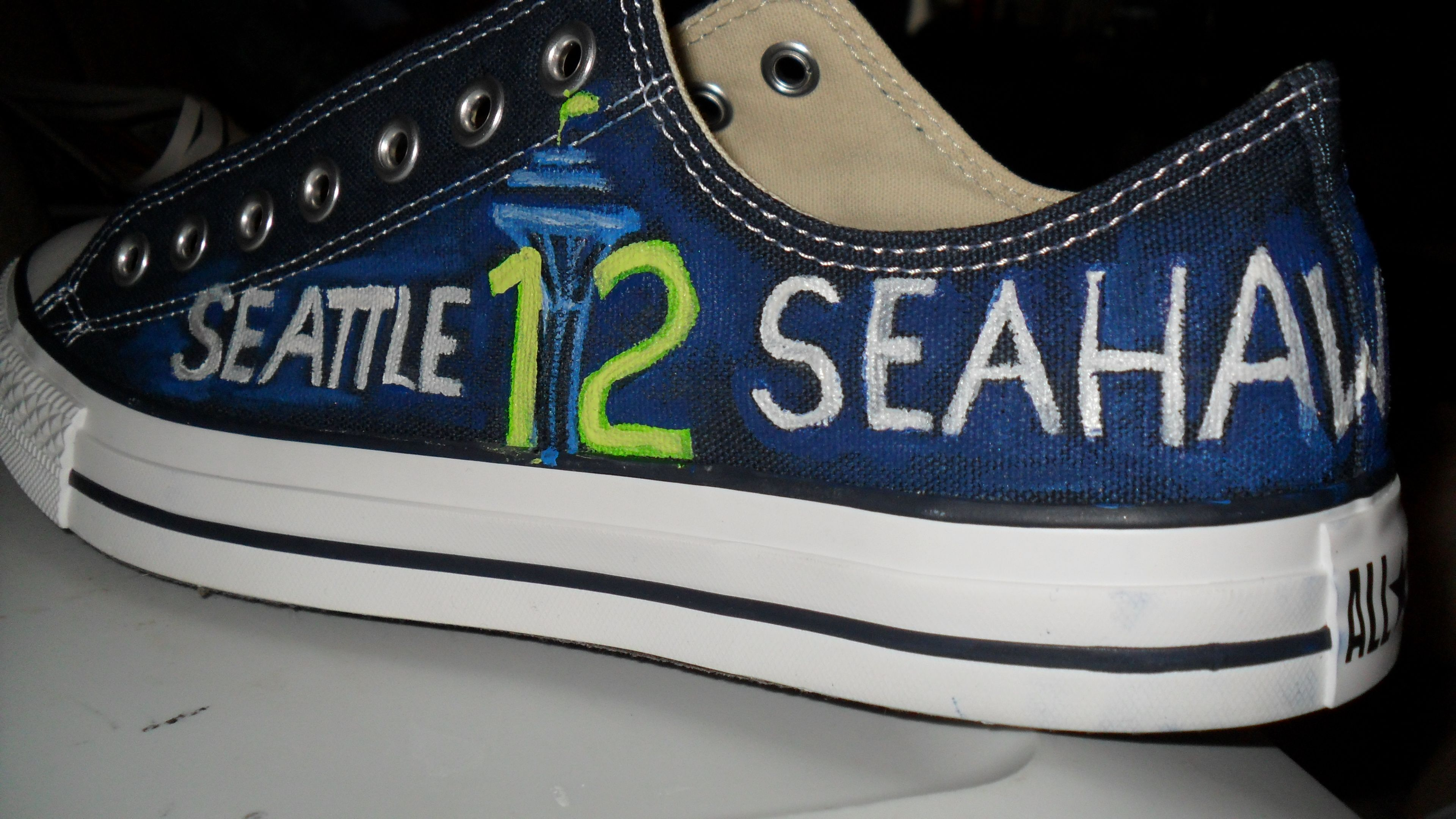 ee0959f9110ee7 Seattle Seahawks hand painted shoes
