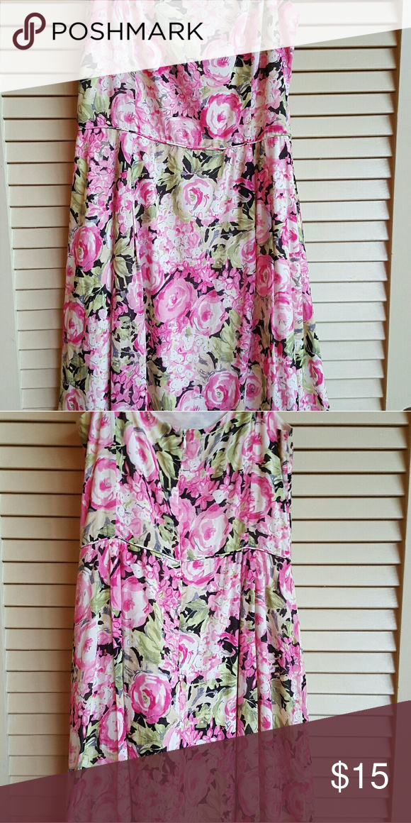 Pink & Black floral print dress. Pretty & Flirty pretty black, pink & light green floral dress. Great for casual summer parties or dressy enough for spring galas or weddings! Talbots Dresses Midi
