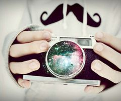 Galaxies annnnd a mustache. Yes.