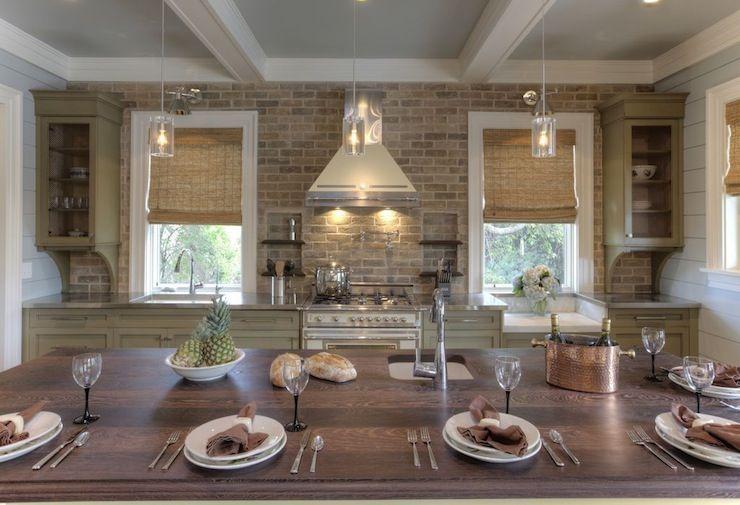 White Kitchen Exposed Brick brick kitchen backsplash - cottage - kitchen - herlong