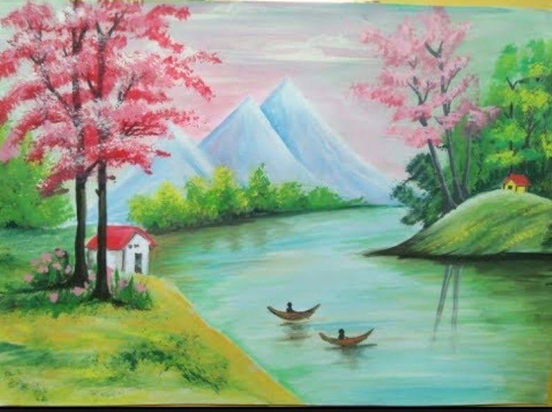 17 Gambar Pemandangan Alam Yang Bagus Dan Mudah Selain Itu Adanya Penghadang Juga Dapat Menjimatkan Kos Anda Untuk Membi Di 2020 Painting Pemandangan Lukisan Lanskap