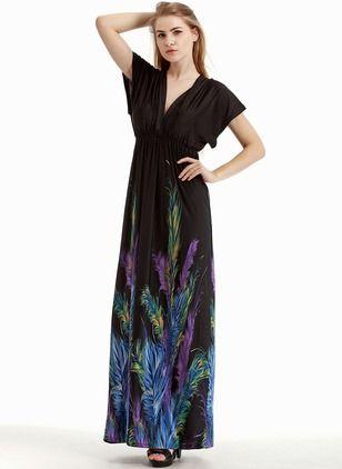 Polyester Zvierací Krátky rukáv Maxi Neformálny Šaty  1d8fc69570d