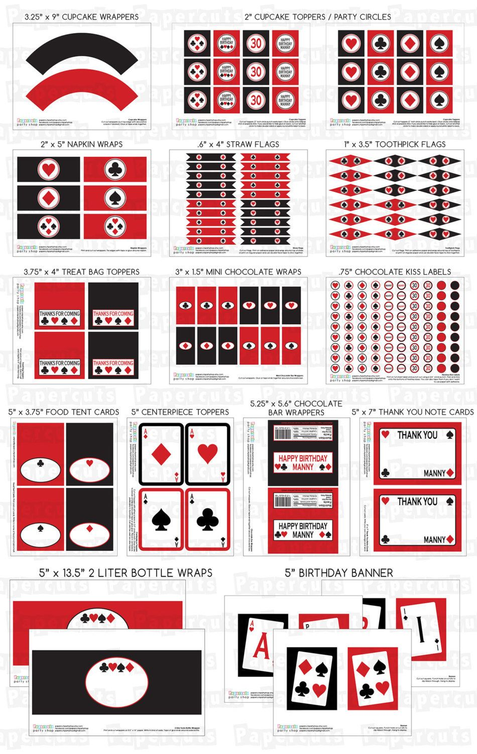 Casino Night Poker Theme LARGE Birthday Party Package | Red & Black ...