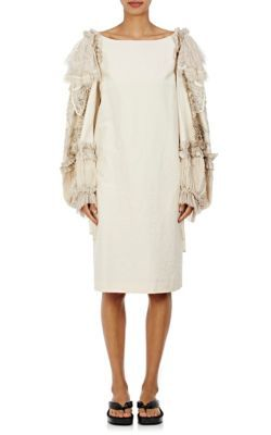DRIES VAN NOTEN Dewar Embellished Cotton-Linen Shift Dress. #driesvannoten #cloth #dress