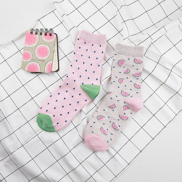 PEONFLY 2017 cotton jacquard fruit socks women lovely watermelon sockS dot point new design ukraine kawaii cute winter socks