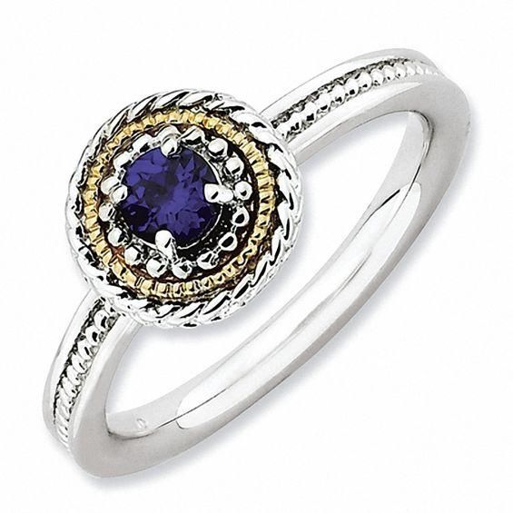 Zales Stackable Expressions Lab-Created Blue Sapphire Double Square Ring in Sterling Silver B0SJXKqmkX