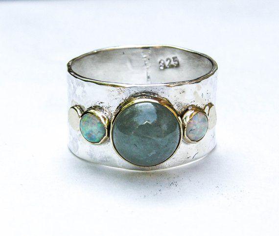 Photo of Aquamarine ring, Handmade Engagement Ring, White opal ring,  Aquamarine stone , October birthstone, Birthday gift, Women gift, Mother's Day