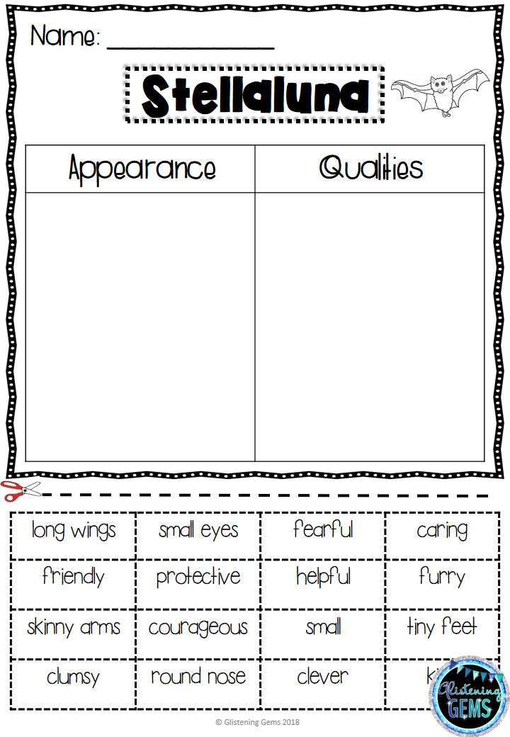 Stellaluna Character Trait Activities Pack