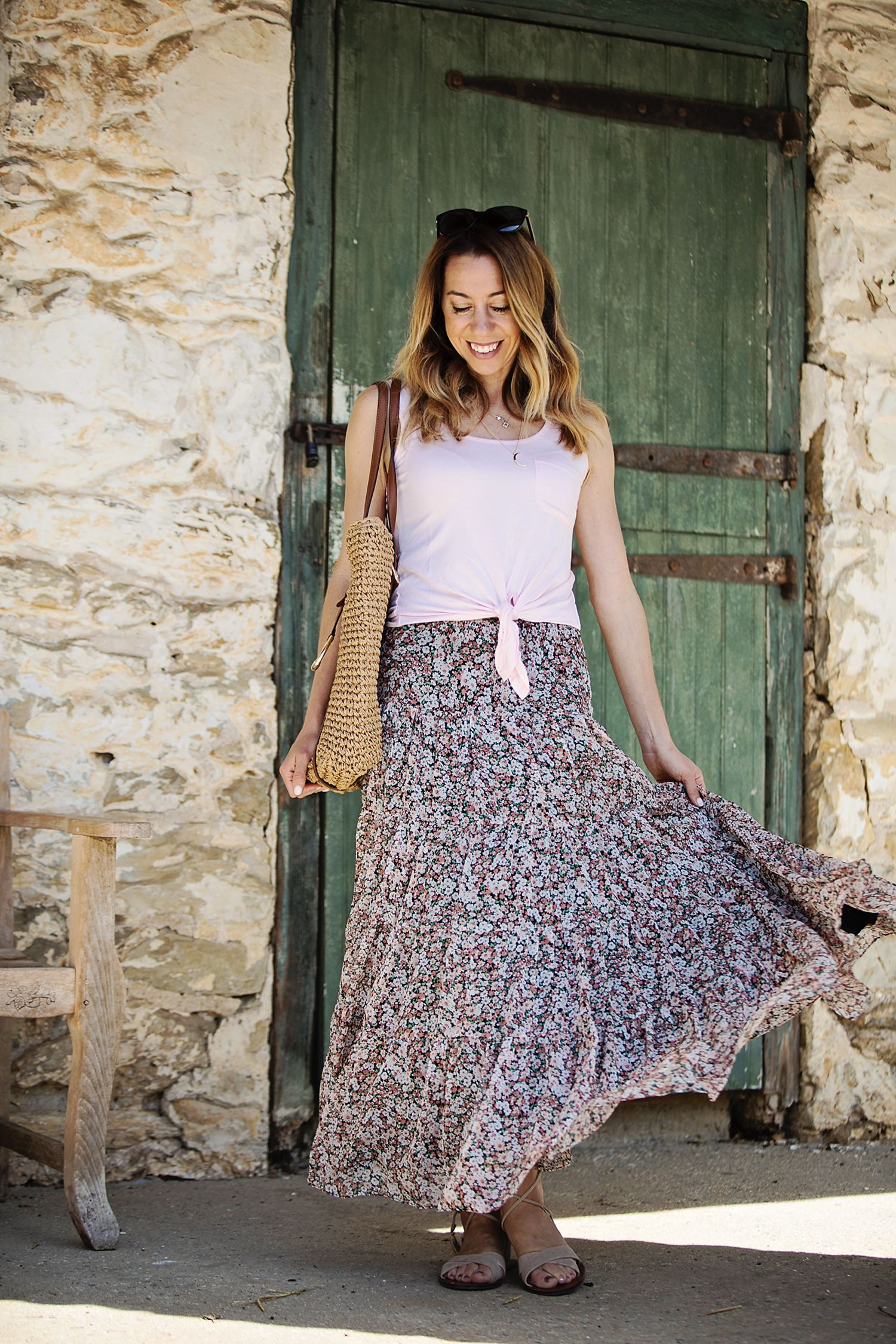 Floral maxi skirt summer outfit ideas and fashion for women over