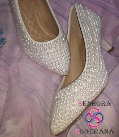 0cd743dc95 Compre Sapato scarpin branco Degrade perolado (Noivas) (batizados) no Elo7  por R