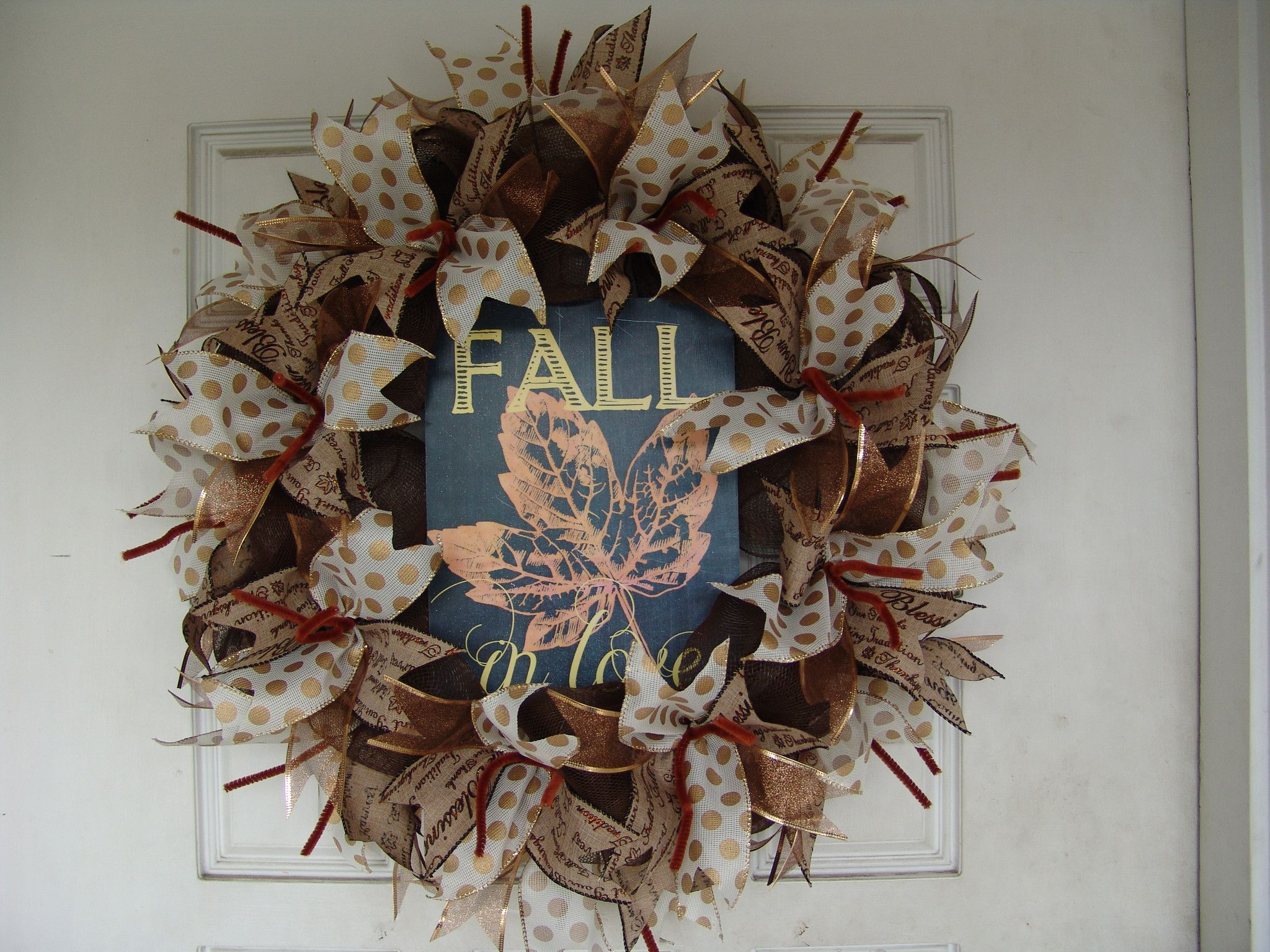 Fall in Love Leaf Chalkboard Look Thanksgiving Fall Autumn Deco Mesh