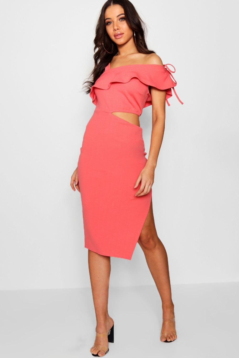 d2d95490e2c5 Click here to find out about the Jess Ruffle One Shoulder Cut Out Midi Dress  from Boohoo, part of our latest Boohoo Boutique collection ready to shop  online ...