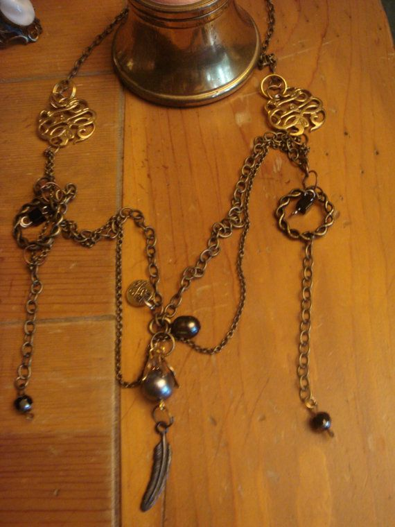 One of a kind Tahitian Black Pearl & ONYX by Thebaroqueprincess, $52.00