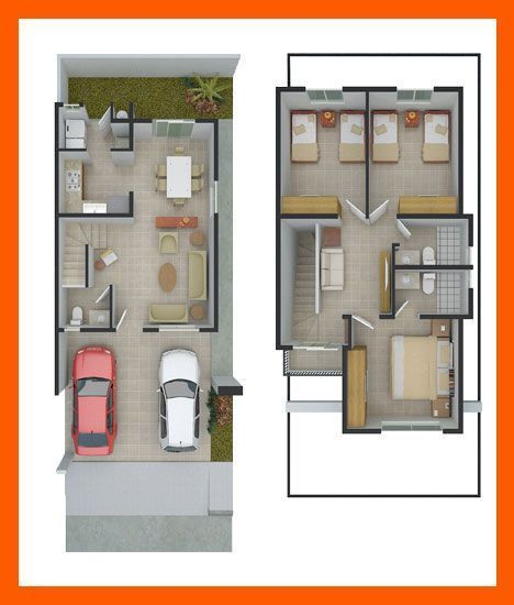 Planos de casas plantas arquitect nicas de casas y for Distribucion departamentos modernos