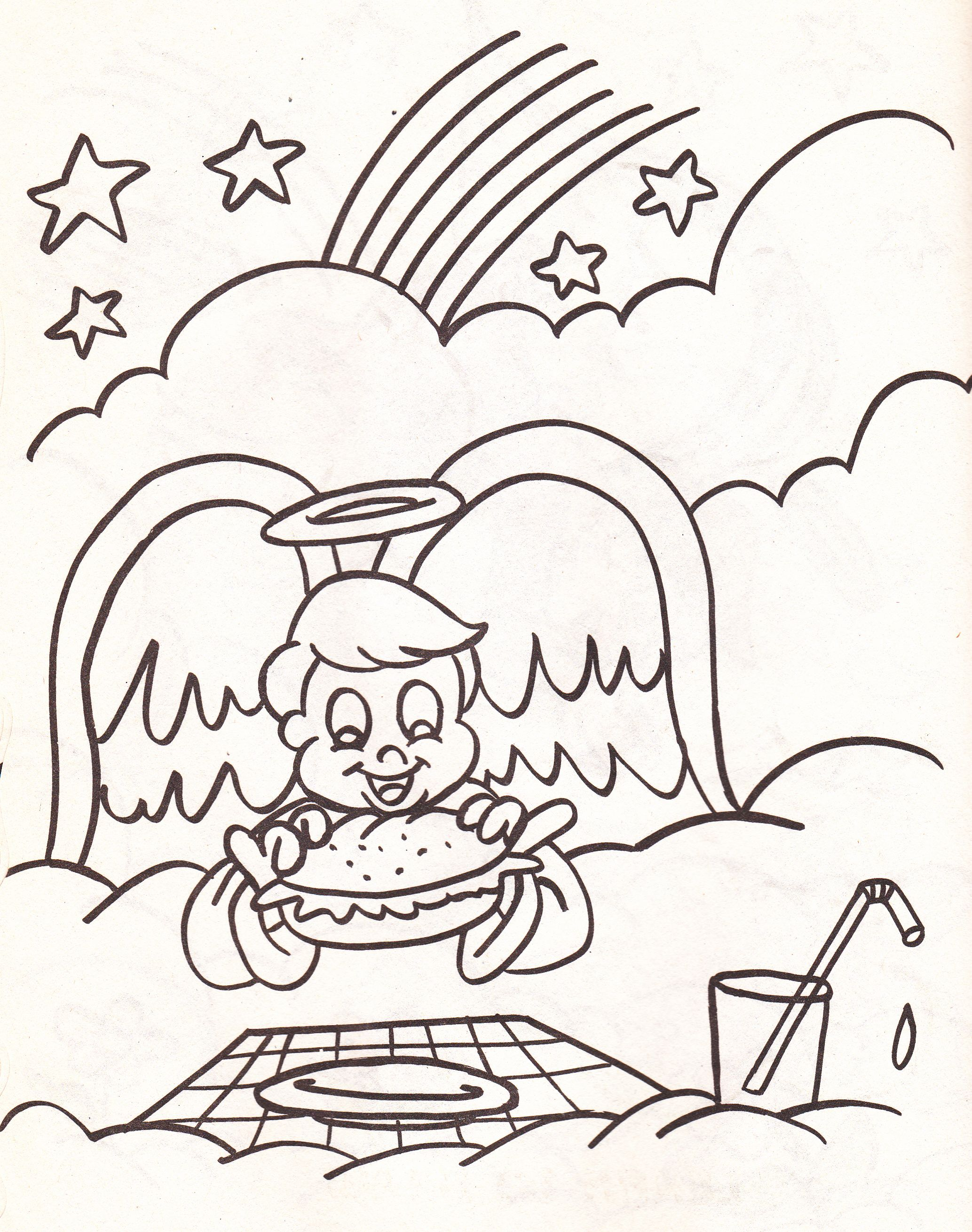 Boy Angel Coloring page - eating a burger | Cool Coloring Pages ...