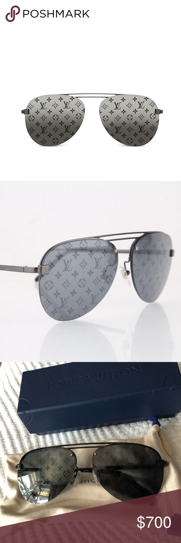 4a5aa223726 Louis Vuitton Clockwise Sunglasses These aviator-style Clockwise sunglasses  have a modern look thanks to