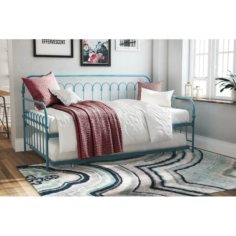 Bright Pop Twin Metal Daybed with Trundle in 2020 Twin