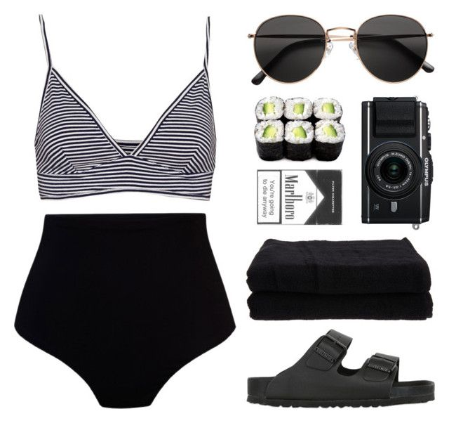 """""""KELSEY"""" by arditach ❤ liked on Polyvore featuring Camp Cove, Pull&Bear, Birkenstock, H&M, Home Source International, black, stripes, beach and summeroutfit"""