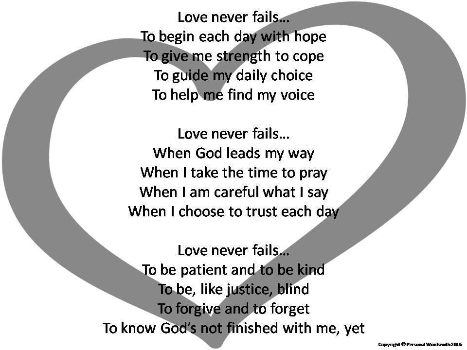 Love Never Fails Poem Digital Print Poetry Able Wall Art Wedding Readings