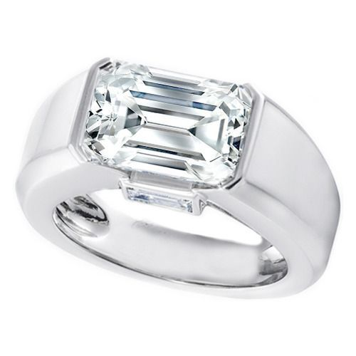 Horizontal Emerald Cut Diamond Engagement Ring Not What I Usually Like But This One Intrigues Me