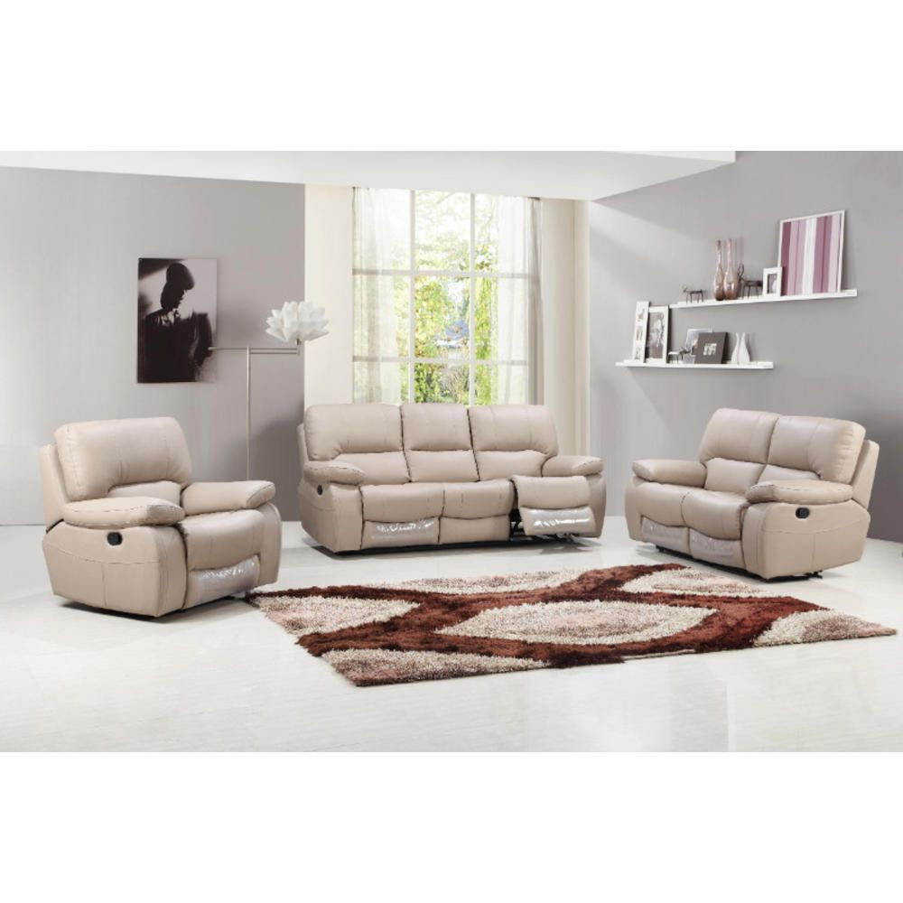 Meubles Accent Furniture Rockland Global United Furniture 2 Pc Nova Ii Collection Beige Leather Gel