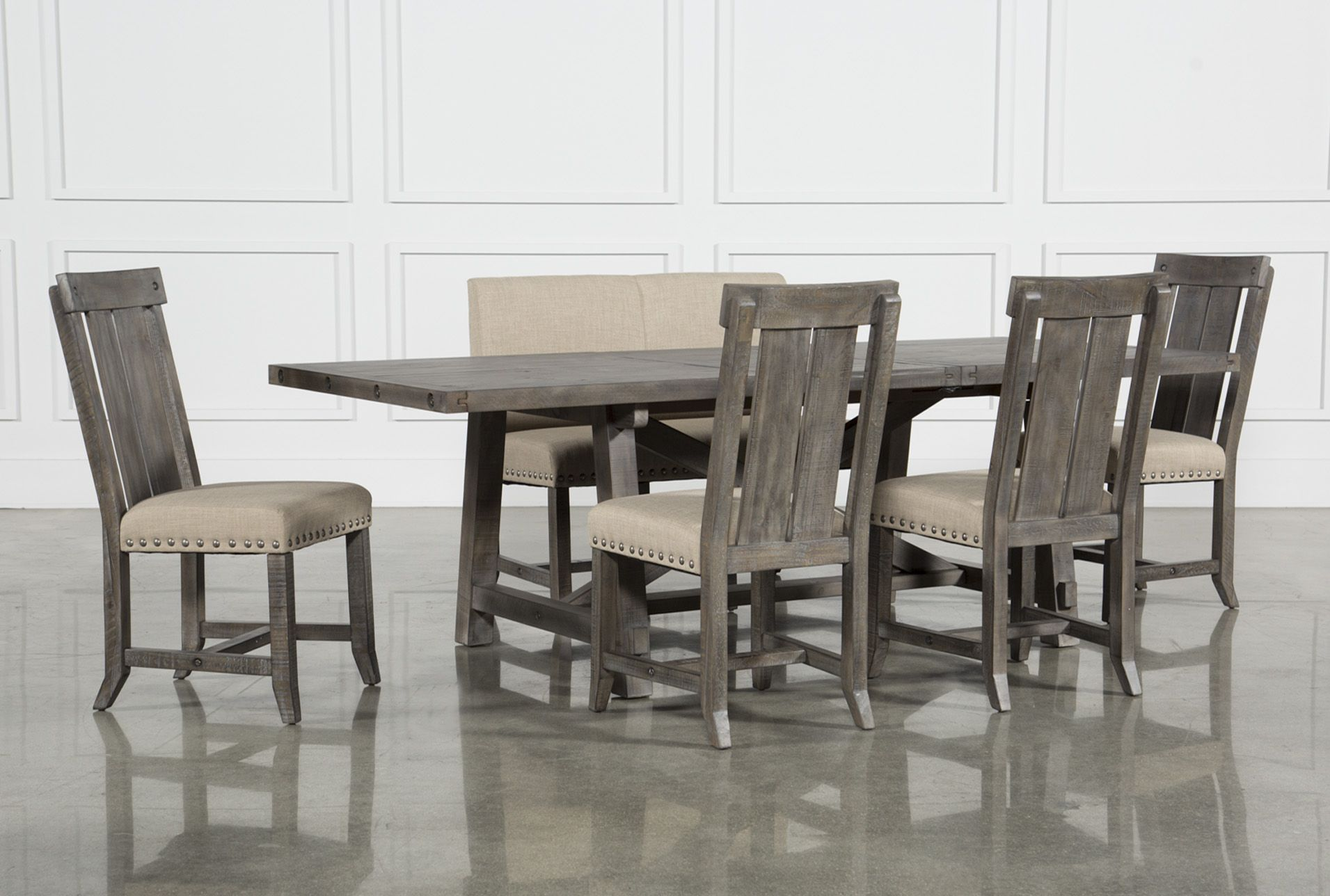 9396938f55 Jaxon Grey 6 Piece Rectangle Extension Dining Set W/Bench & Wood Chairs