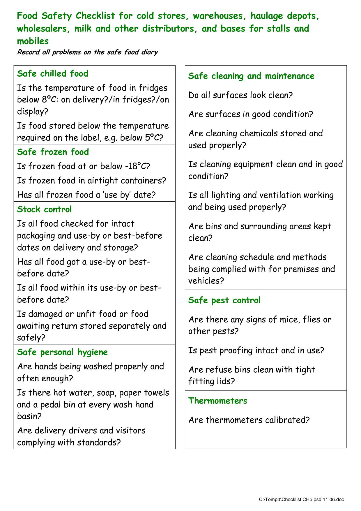food checklist template food safety checklist for cold organising pinterest template. Black Bedroom Furniture Sets. Home Design Ideas