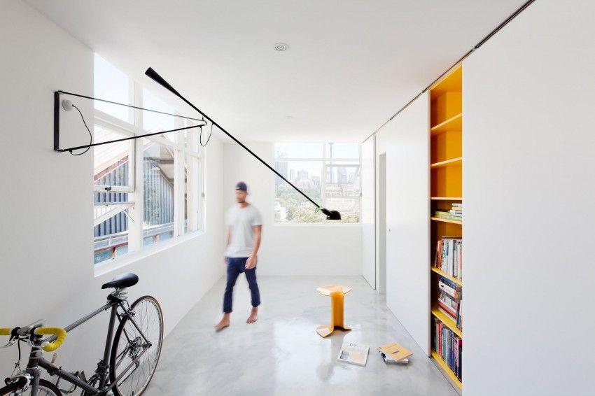 Micro apartment versteckt sein spielerisches dekor hinter schiebeturen also rh pinterest
