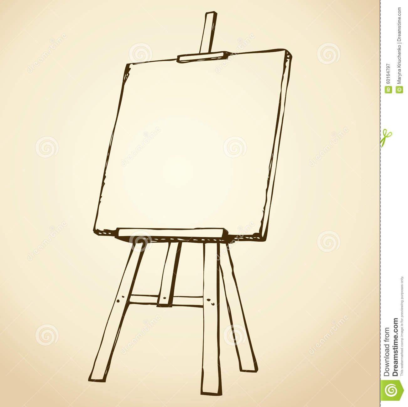 Drawing Smooth Lines Canvas : Easel vector sketch wooden blank canvas white backdrop