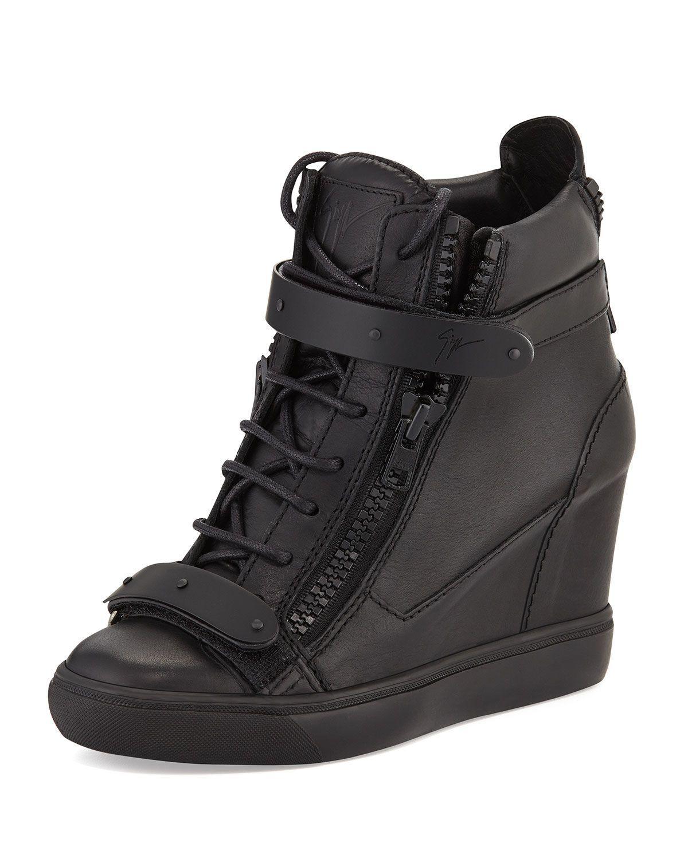 Leather Double Strap Wedge Sneaker, Nero, Women's, Size
