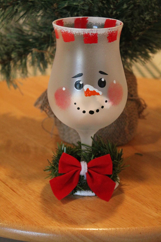 Snowman Frosted Wine Glass Tea Light Holder Handpainted