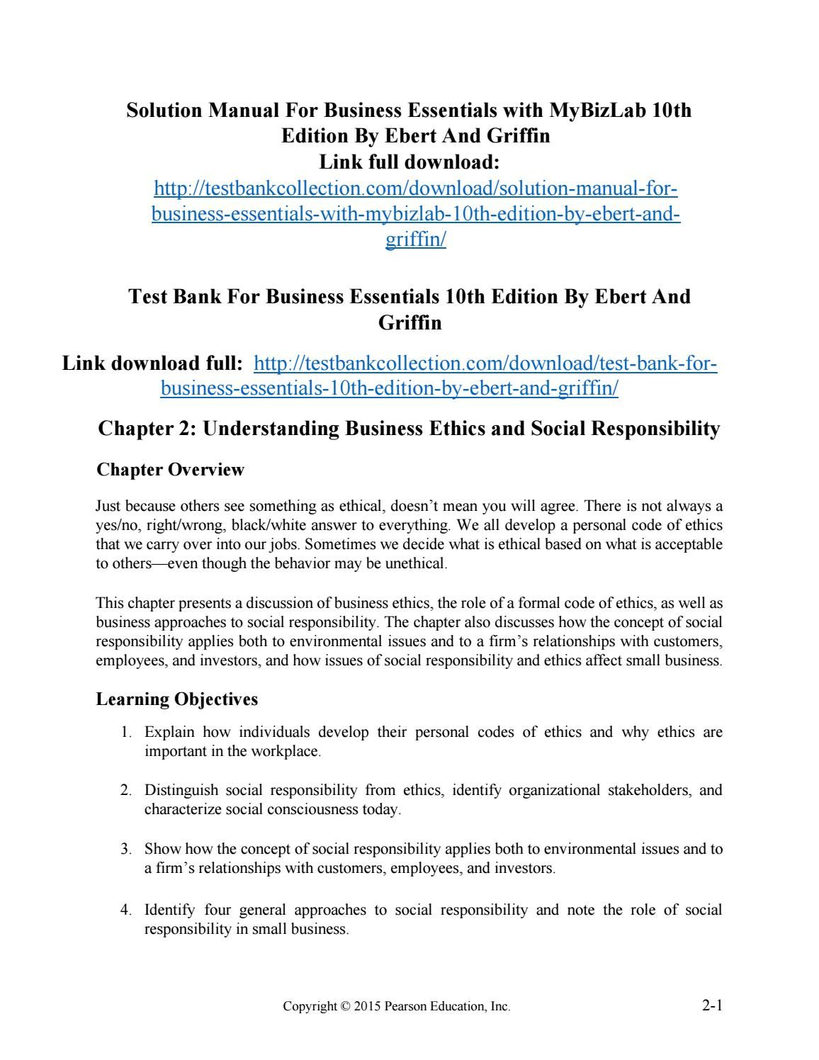 Solution manual for business essentials with mybizlab 10th edition by ebert  and griffin