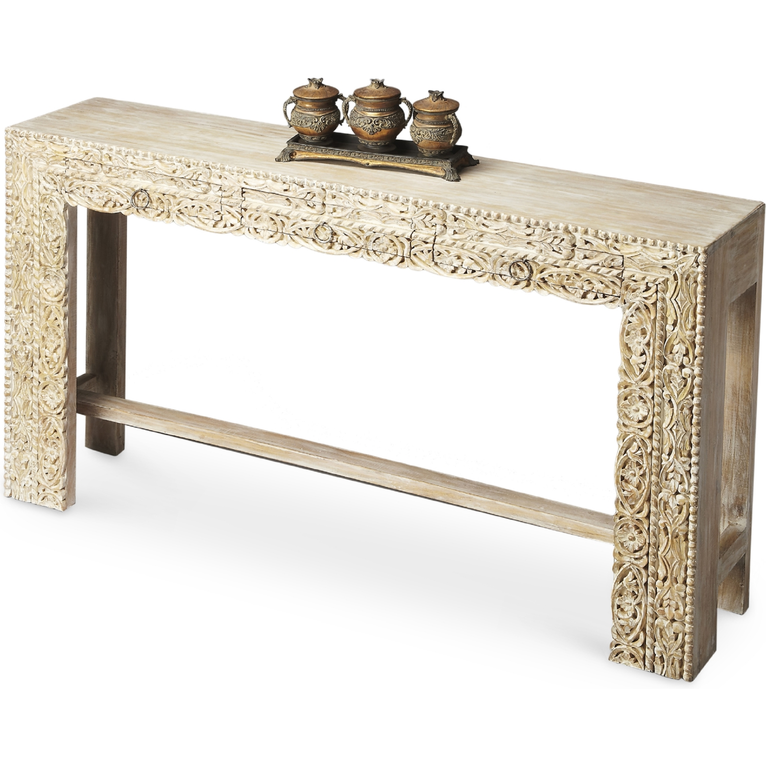 Butler Specialty 2069290 Artifacts Console Table White Recycled Mango Wood Wood Console Wood Console Table Console Table