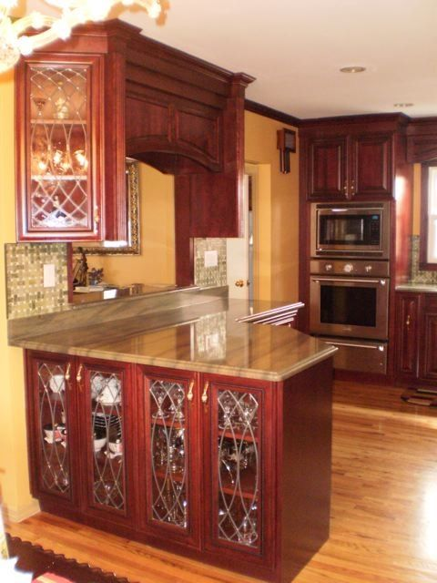 leaded glass for the cabinets in this kitchen #kitchens # ...