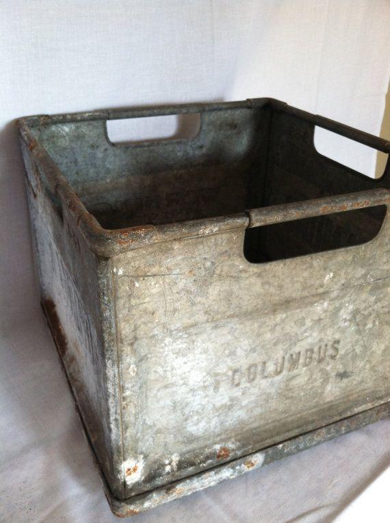 Vintage Galvanized Metal Fence Top Finial Fence Post: Vintage Galvanized Metal Milk Crate