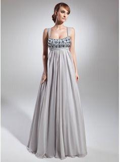 Empire-Linie U-Ausschnitt Bodenlang Chiffon Charmeuse Festliche Kleid mit Rüschen Perlen verziert (020036566) - JJsHouse
