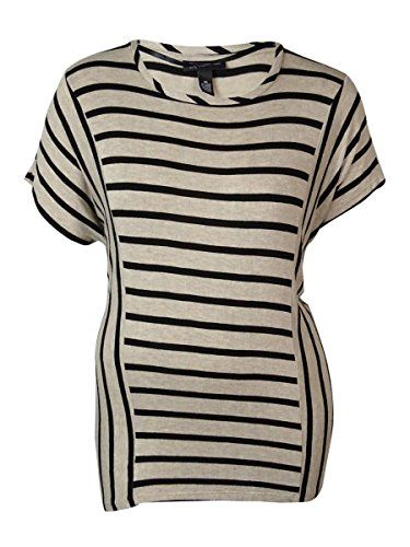 INC International Concepts Plus Size Short Sleeve Striped Top BlackNeutral 2X * Check this awesome product by going to the link at the image.