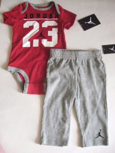 063218e6b New-NIKE-Air-Jordan-23-2pc-Infant-Baby-Boy-Red-Gray-Bodysuit-Pants-3-6-6-9M