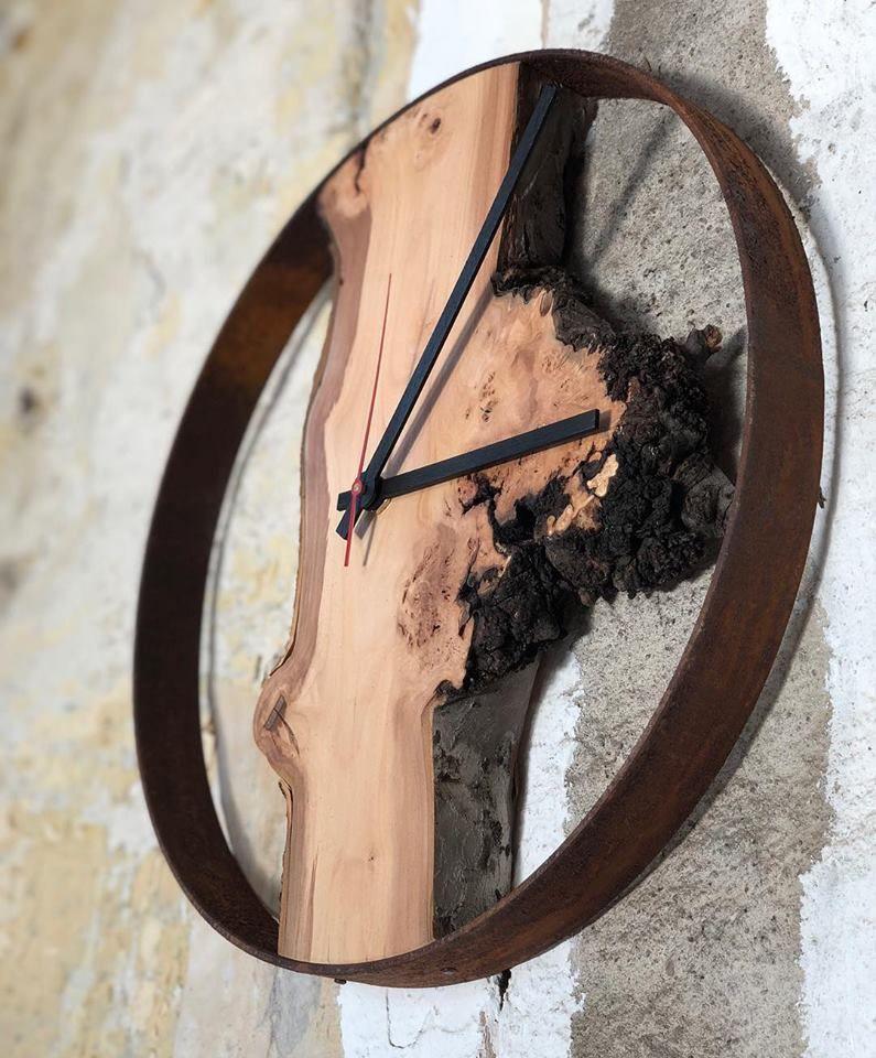 Holz Wanduhr Wuhrzel Rund Huamet Natur Wanduhren Wanduhr