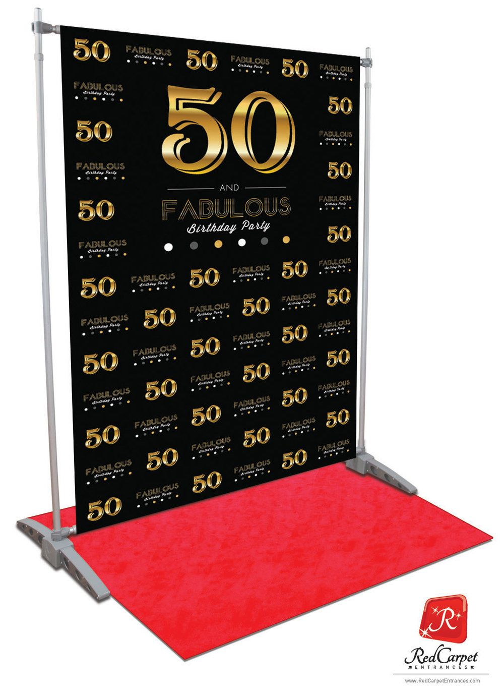 50 And Fabulous Birthday Backdrop Black 5x8 In 2019