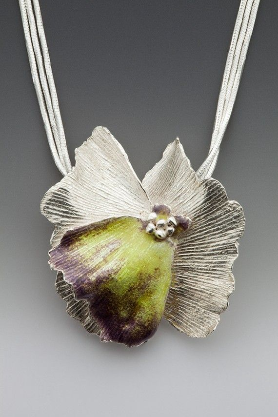 silver flower necklace with plum and yellow enamel by lynncobb, $375.00