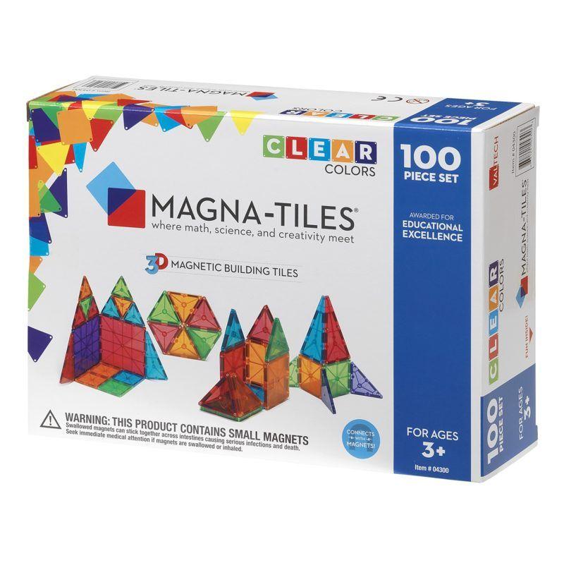 Magna Tiles Clear Colors 100 Piece Set Magna Tiles Magna Tiles Magnetic Building Tiles Magnetic Building Toys