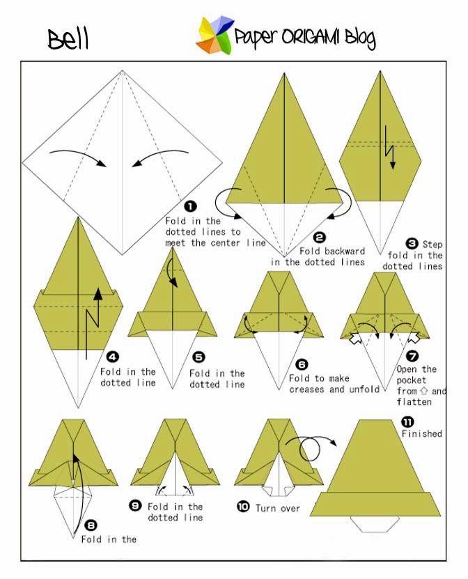 Christmas Origami: Bell | Christmas origami, Creative origami, Kids origami
