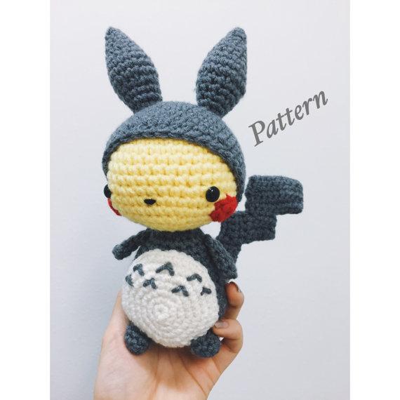 Kawaii Pikachu in Totoro Suit Amigurumi - PDF PATTERN | Totoro ...