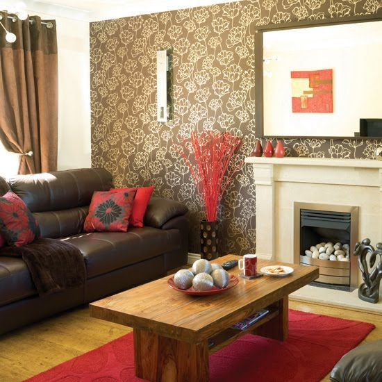 Brown Red Living Rooms Taupe Room Accents