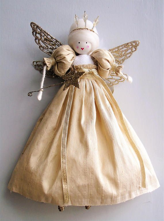 timeless design 2c54d 7c0d1 Christmas Tree Fairy Tree Topper Gold Pure Silk with ...