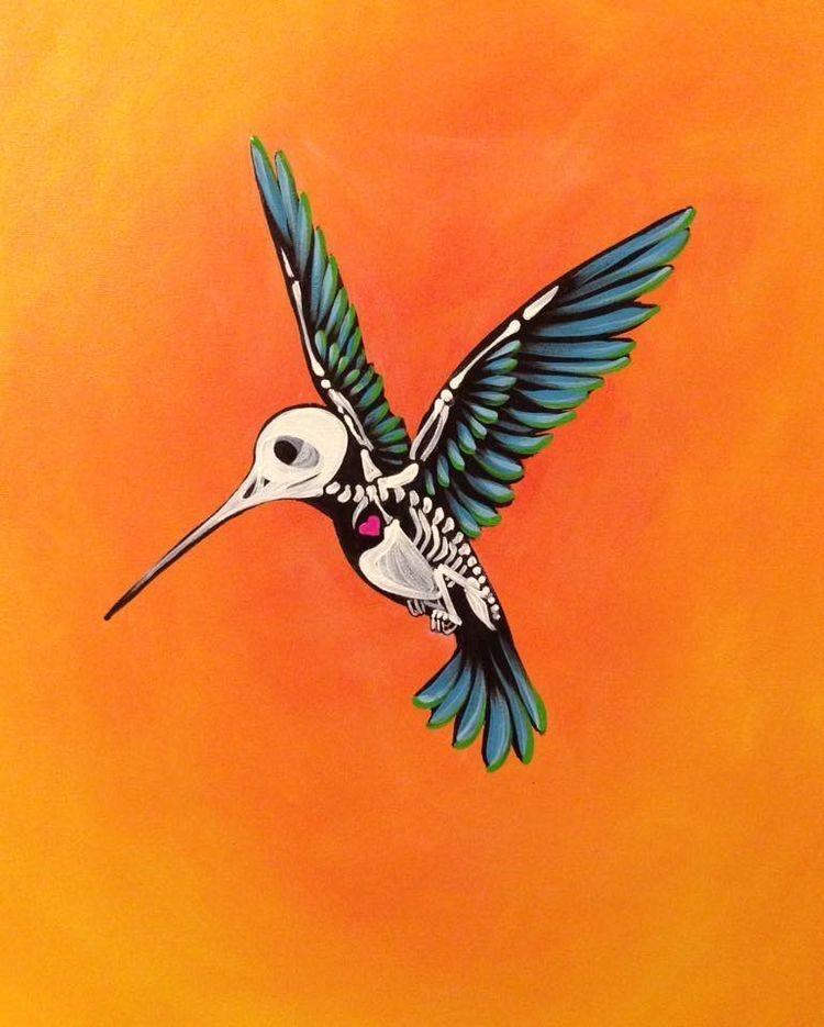 , skulltattoosleeveskeletons in 2020 Hummingbird skull