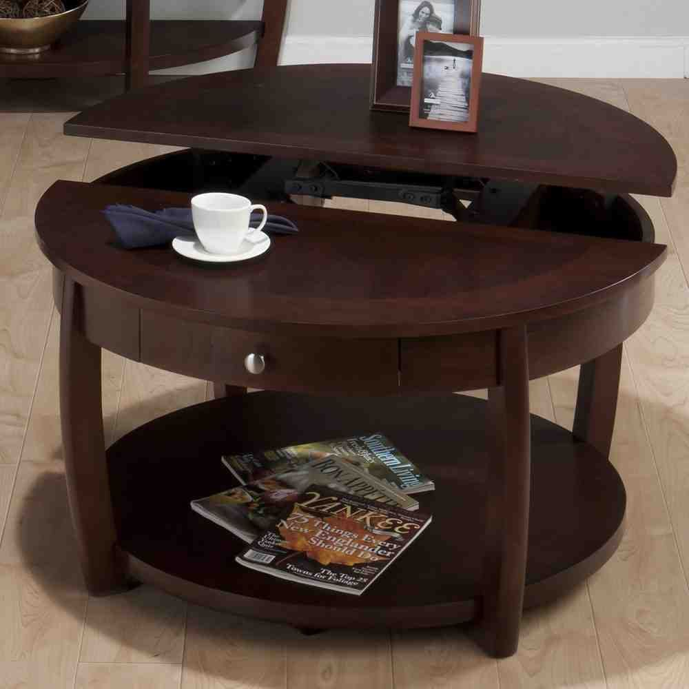 Round Side Table With Drawer Round Wood Coffee Table Lift