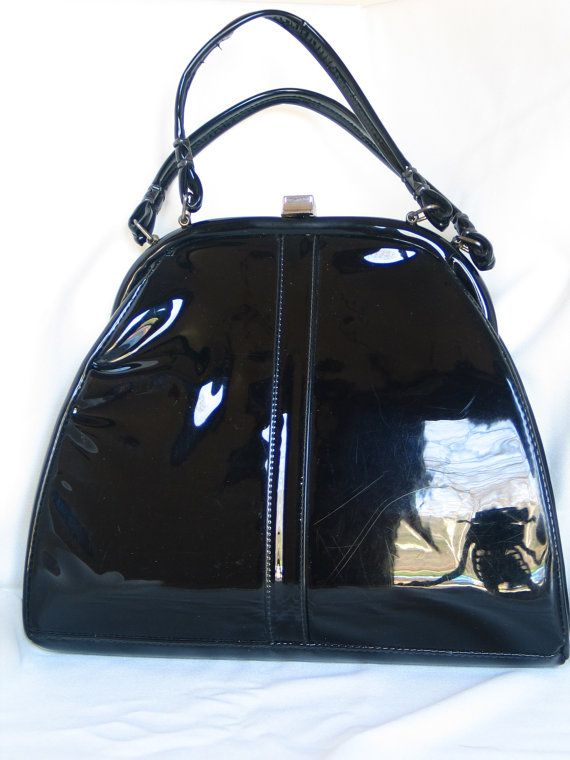 d17043a7c5b57 Rockabilly Black Patent Leather Purse with a Unique by PinkyLaRoux, $24.99
