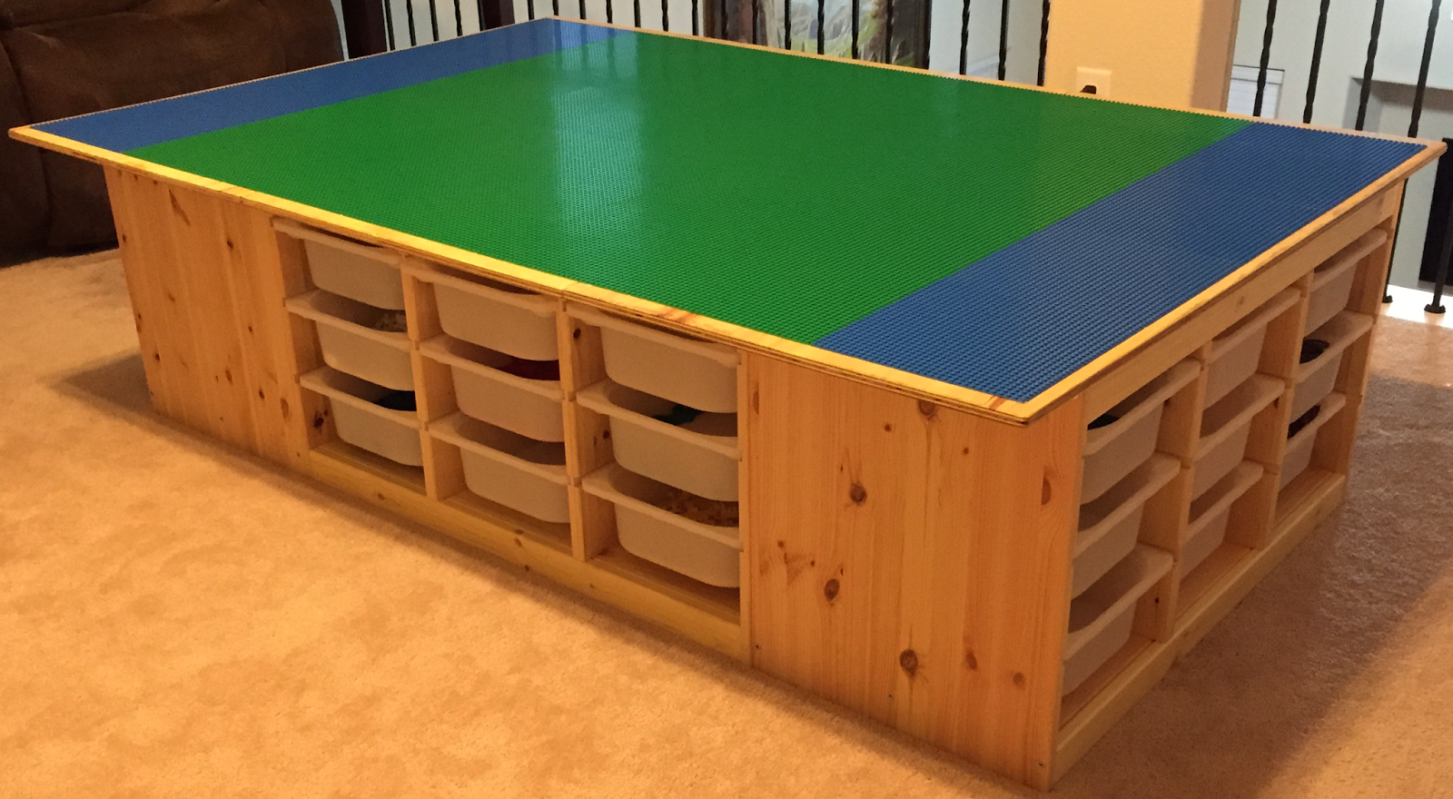 The Lego Table Goes Awesome Uses 4 Ikea S Trofast Frames 4 Feet X 6 Feet Table Top Legos Are